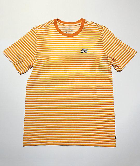 reputable site how to buy on feet at Nike SB Yellow, Orange & White Striped T-Shirt