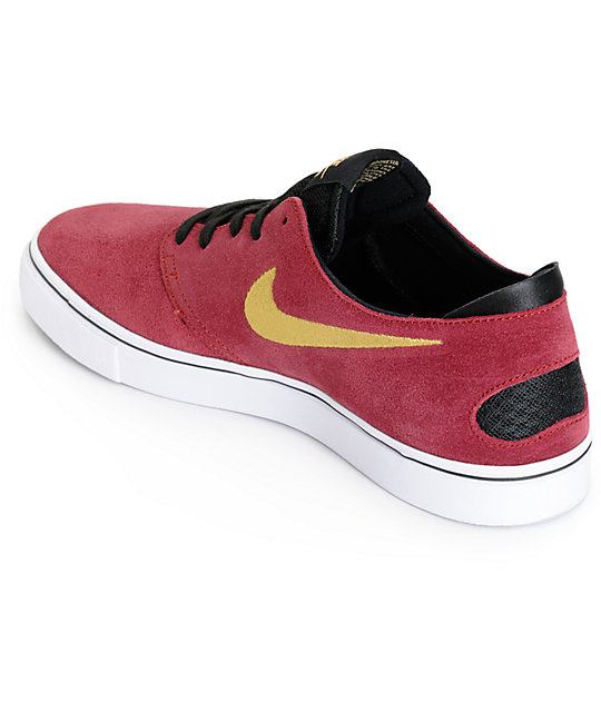 87ed897a639a ... Nike SB Zoom Oneshot Team Red and Metallic Gold Skate Shoes ...