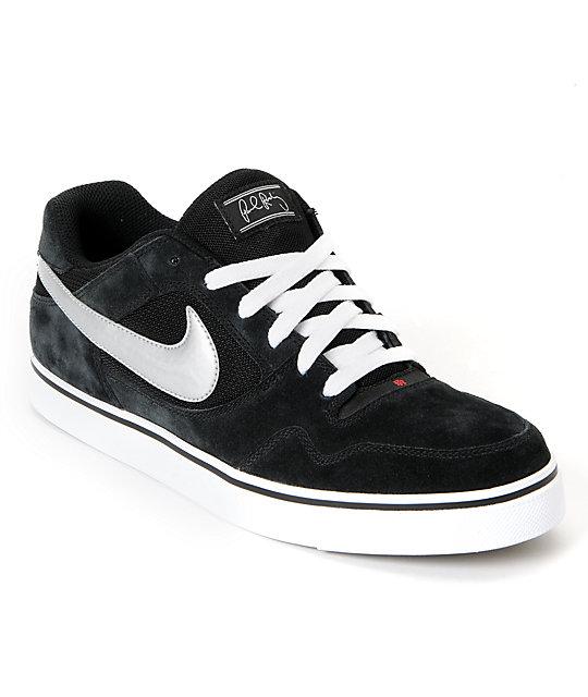 separation shoes 56c92 124e9 Nike SB Zoom P-Rod 2.5 Black  Metallic Silver Suede Skate Shoes  Zumiez