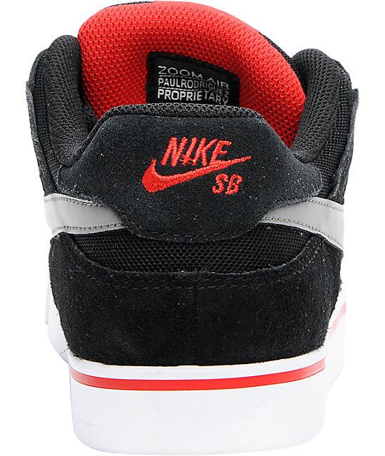 Nike SB Zoom P-Rod 2.5 Black & Red Suede Skate Shoes