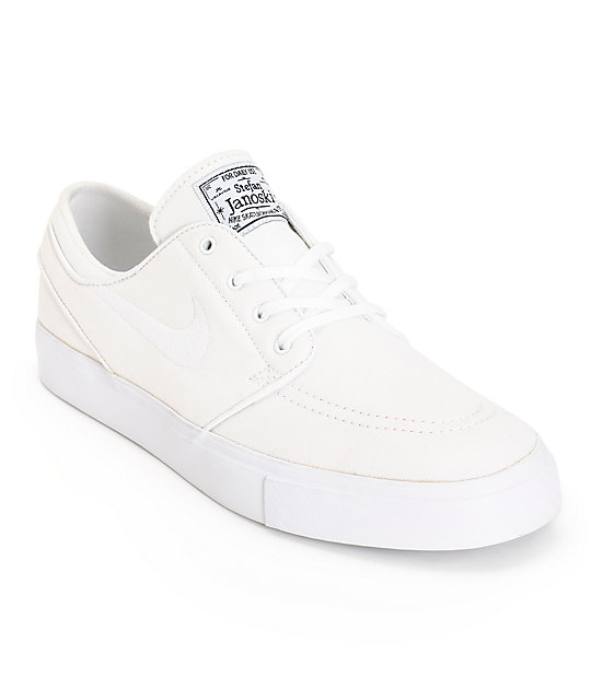 on feet at timeless design excellent quality Nike SB Zoom Stefan Janoski All White Canvas Skate Shoes