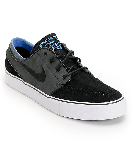 Nike SB Zoom Stefan Janoski Black, Anthracite, & Blue Suede Shoes