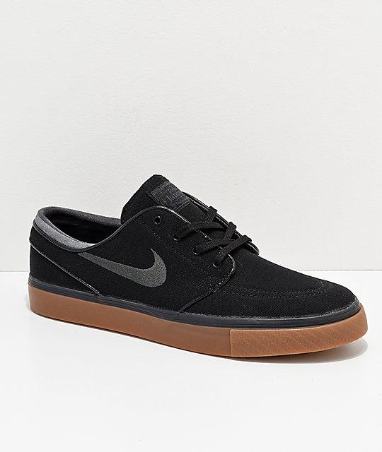 new styles efd24 7a8d9 Nike SB Zoom Stefan Janoski Black, Anthracite,   Gum Canvas Shoes   Zumiez