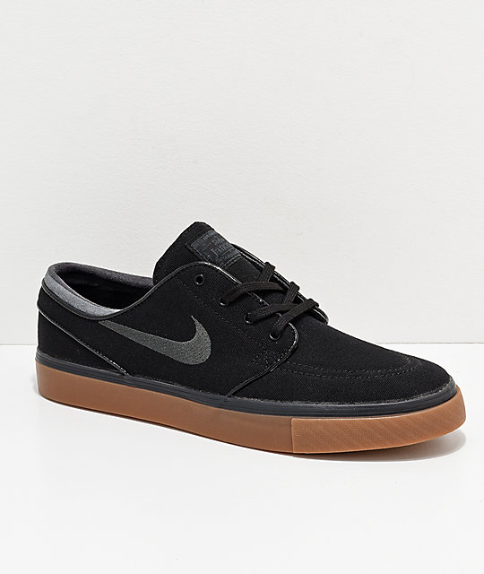 run shoes factory authentic great fit Nike SB Zoom Stefan Janoski Black, Anthracite, & Gum Canvas Shoes