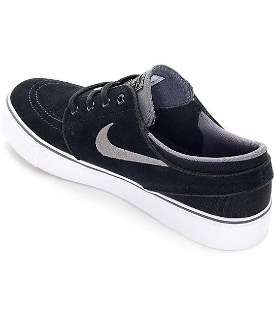 new concept 87d16 9440e Nike SB Zoom Stefan Janoski Black, Light Graphite, and White Kids Skate  Shoes   Zumiez