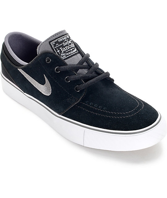 new concept fd03d 88245 Nike SB Zoom Stefan Janoski Black, Light Graphite, and White Kids Skate  Shoes   Zumiez