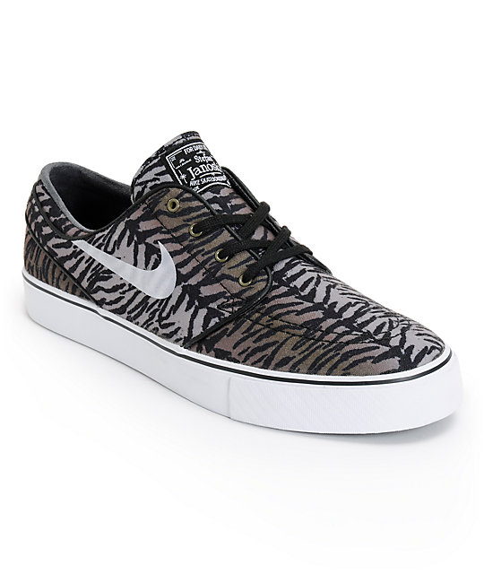 Nike SB Zoom Stefan Janoski Black, White, & Medium Olive Shoes