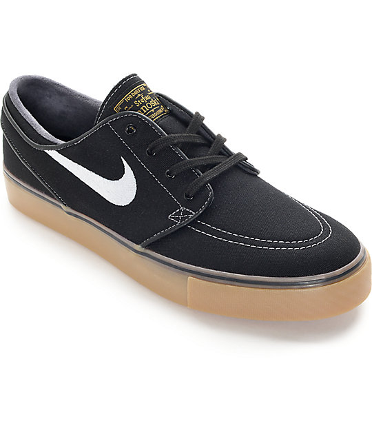 promo code d8d93 24b4a Nike SB Zoom Stefan Janoski Black, White, and Gum Skate Shoes | Zumiez