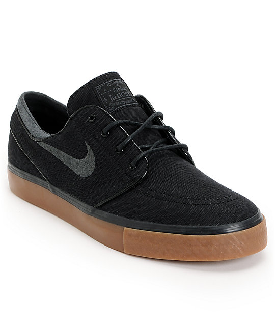 Nike SB Zoom Stefan Janoski Canvas Chaussure - black white gum light brown