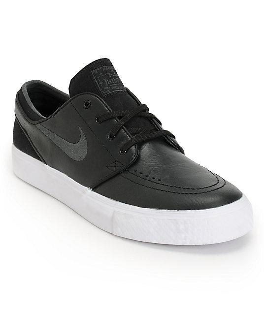 561a99a71f Nike SB Zoom Stefan Janoski Black & Anthracite Leather Shoes | Zumiez
