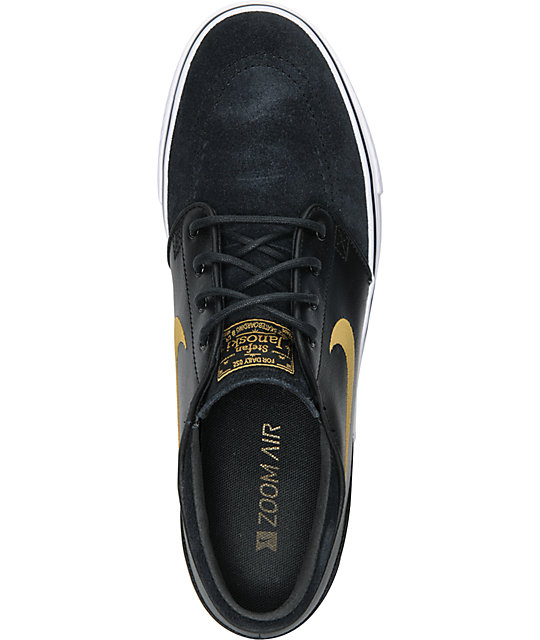 Nike SB Zoom Stefan Janoski Black & Metallic Gold Shoes