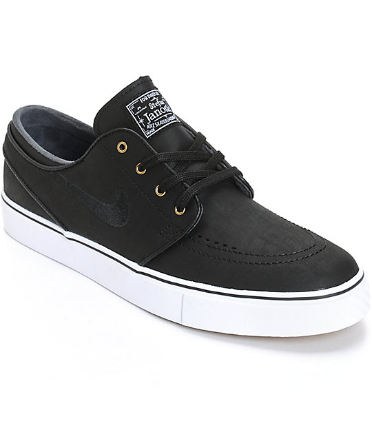 meet 9b077 a66a2 Nike SB Zoom Stefan Janoski Black   White Leather Skate Shoes   Zumiez