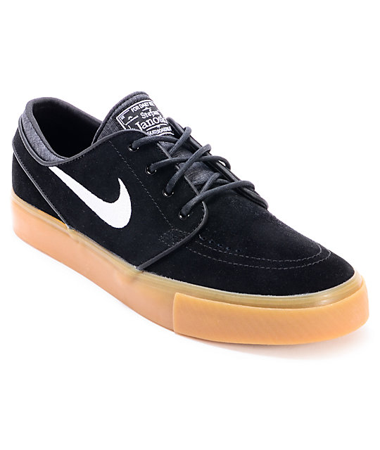nike sb janoski black and gum suede skate shoe