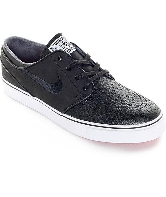 newest 228c3 90214 Nike SB Zoom Stefan Janoski Black Croc   White Leather Skate Shoes   Zumiez
