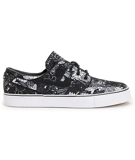 competitive price 71811 8b879 ... Nike SB Zoom Stefan Janoski Black Floral Sail Skate Shoes ...