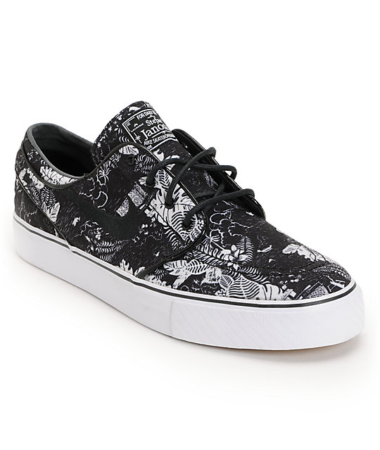 quality design 50040 12249 Nike SB Zoom Stefan Janoski Black Floral Sail Skate Shoes  Z
