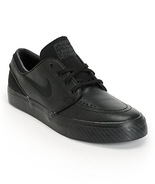 4211021cebe Nike SB Zoom Stefan Janoski Black Leather Skate Shoes