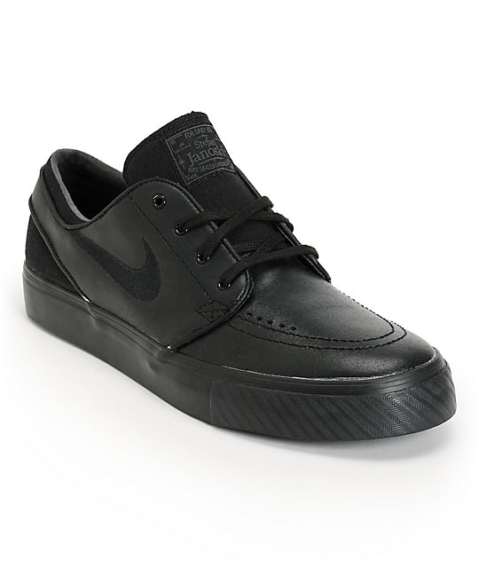 best sale website for discount offer discounts Nike SB Zoom Stefan Janoski Black Leather Skate Shoes
