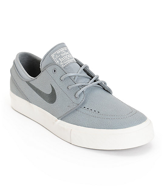 Nike SB Zoom Stefan Janoski Cool Grey & Anthracite Leather Skate Shoes ...