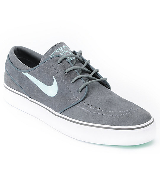 Nike SB Zoom Stefan Janoski Grey & Mint Suede Shoes