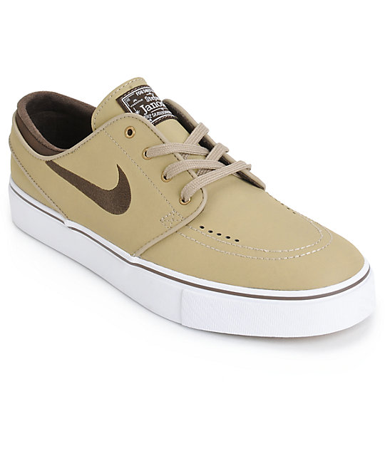 e3450902139958 Nike SB Zoom Stefan Janoski Khaki   Brown Leather Skate Shoes