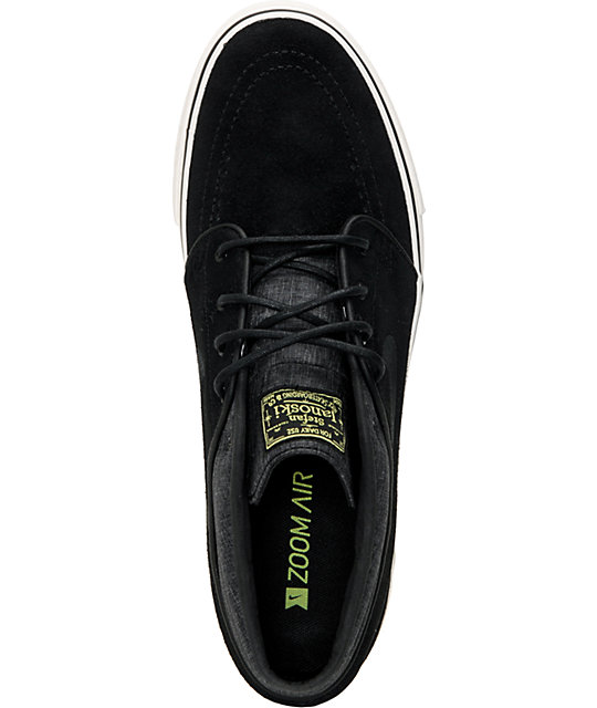 buy popular 41349 4a9ea ... Nike SB Zoom Stefan Janoski Mid Black   Electric Yellow Suede Skate  Shoes ...