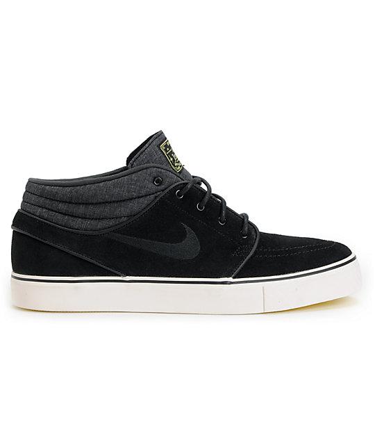 sports shoes fd4fc baea9 ... Nike SB Zoom Stefan Janoski Mid Black   Electric Yellow Suede Skate  Shoes