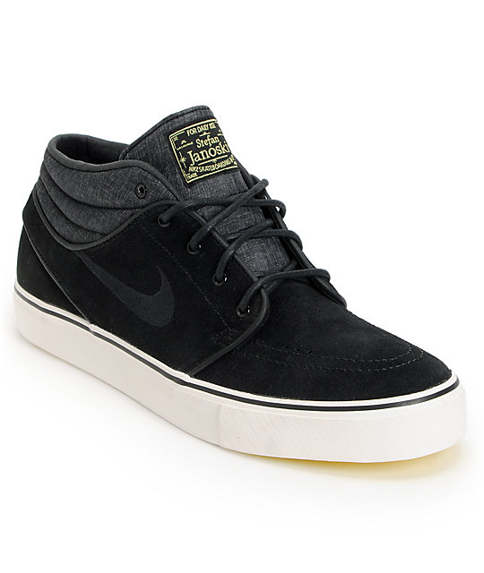 premium selection 9402b f1ae9 Nike SB Zoom Stefan Janoski Mid Black   Electric Yellow Suede Skate Shoes    Zumiez