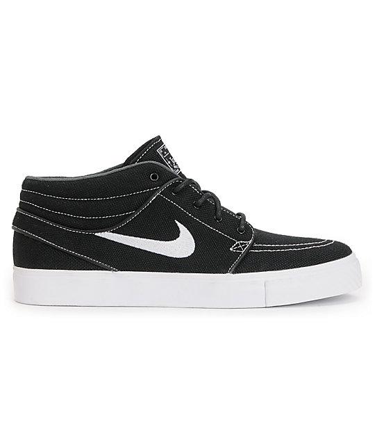 ... Nike SB Zoom Stefan Janoski Mid Black & White Canvas Skate Shoes