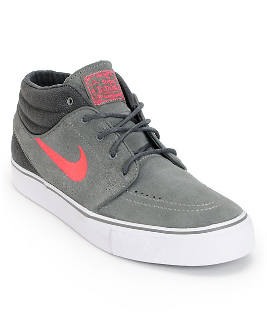 9742eee8e33 Nike SB Zoom Stefan Janoski Mid Grey, Anthracite, & Hyper Red Suede Skate  Shoes