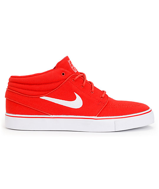 new product c6b69 9a00f ... Nike SB Zoom Stefan Janoski Mid University Red   White Canvas Skate  Shoes