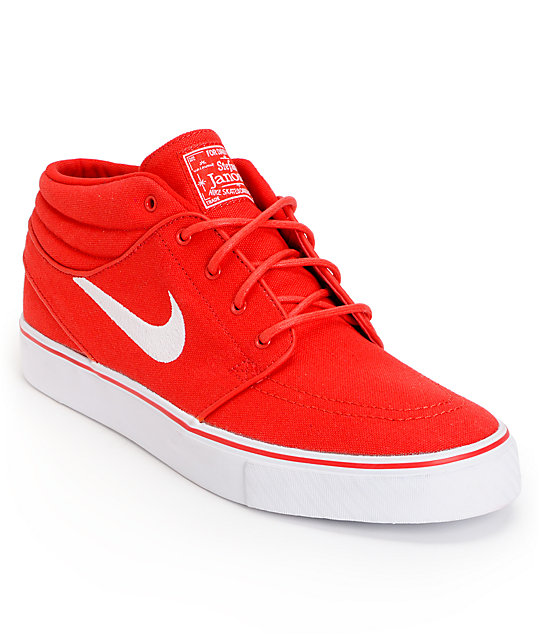 2f6500954e Nike SB Zoom Stefan Janoski Mid University Red   White Canvas Skate Shoes