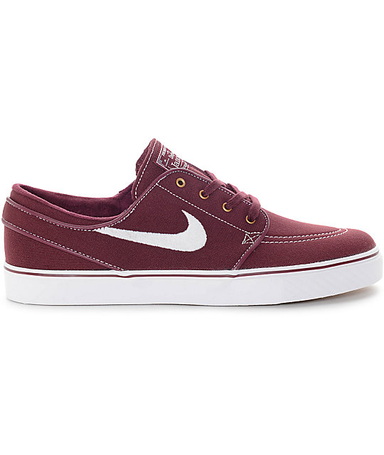 Nike SB Zoom Stefan Janoski Night Maroon   White Canvas Skate Shoes ... 75e0c4bc0