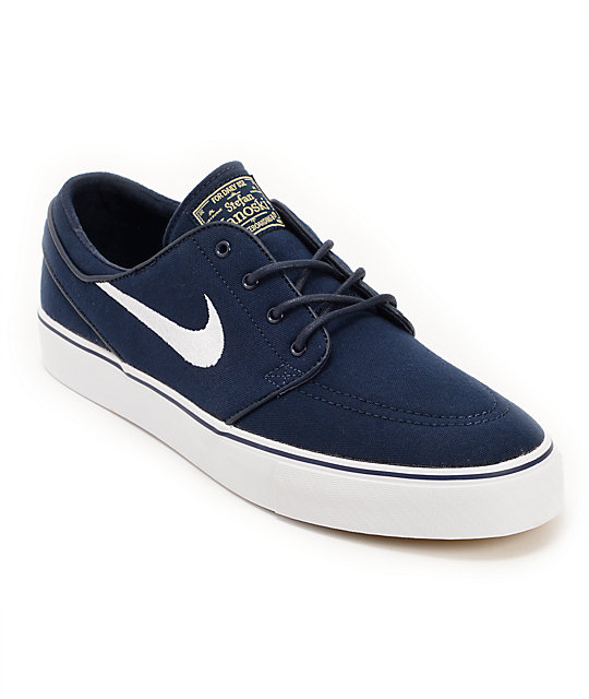 Nike SB Zoom Stefan Janoski Obsidian, White, & Light Brown Canvas Shoes