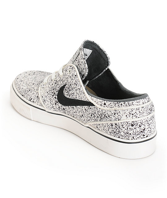 finest selection b8fde 70f3a ... Nike SB Zoom Stefan Janoski PR Ivory   Black Speckle Skate Shoes ...