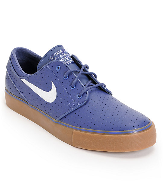 lowest price 291a3 89184 Nike SB Zoom Stefan Janoski Perforated Blue & Gum Skate Shoes | Zumiez