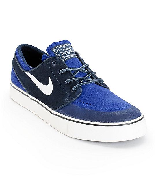 amazon fashion sneakers Nike SB Zoom Stefan Janoski Premium SE Obsidian & Deep Royal Blue Skate  Shoes