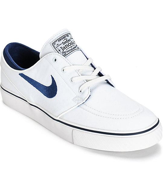 good texture best online really cheap Nike SB Zoom Stefan Janoski Summit White & Midnight Navy Skate Shoes