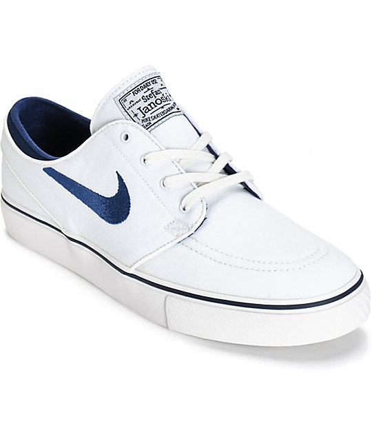 Nike SB Stefan Janoski Zoom Canvas Summit White Sneakers (Summit White/Midnight Navy)