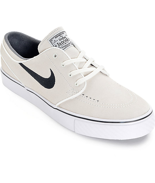 best website 7ff11 4959a Nike SB Zoom Stefan Janoski Summit White and Black Skate Shoes   Zumiez