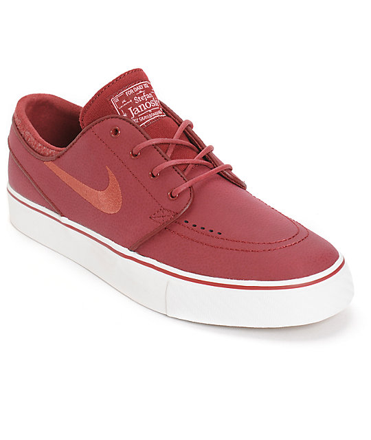 a346336e8c52 Nike SB Zoom Stefan Janoski Team Red   Cedar Leather Skate Shoes ...