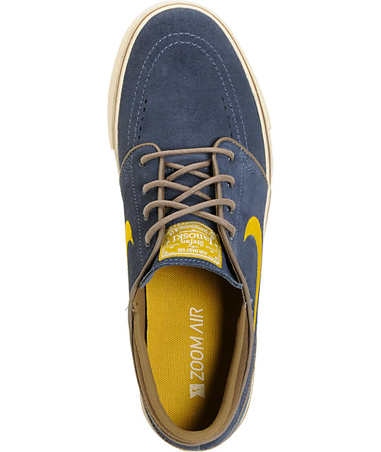 Nike SB Zoom Stefan Janoski Thunder Blue, Dark Citron & Cocoa Suede Shoes