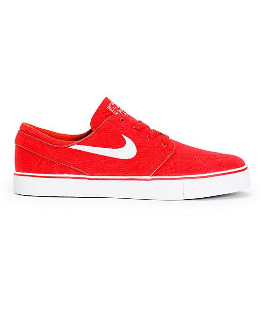 Nike SB Zoom Stefan Janoski Varsity Red   White Canvas Skate Shoes ... bcdde8f97a