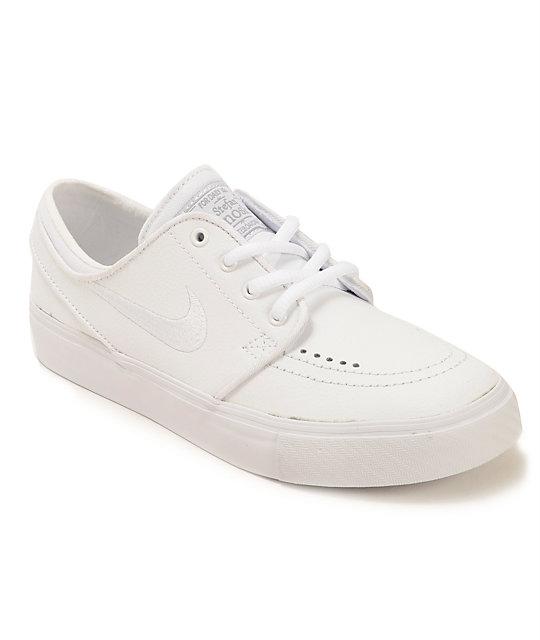6ecf69963379 Nike SB Zoom Stefan Janoski White Leather Kids Skate Shoes