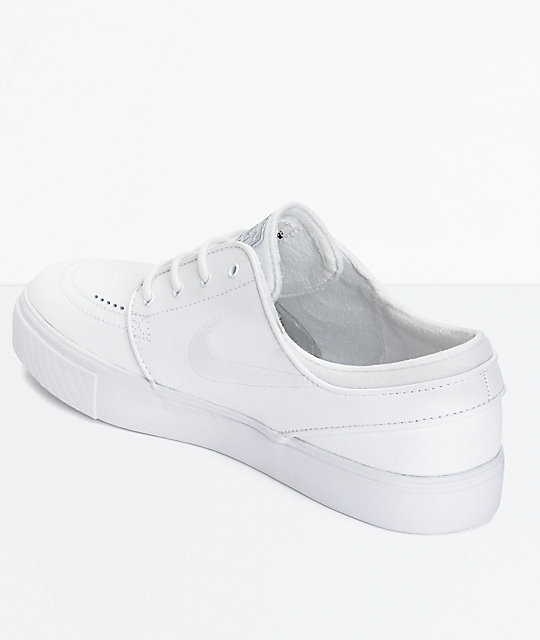 Nike SB Zoom Stefan Janoski White Leather Skate Shoes