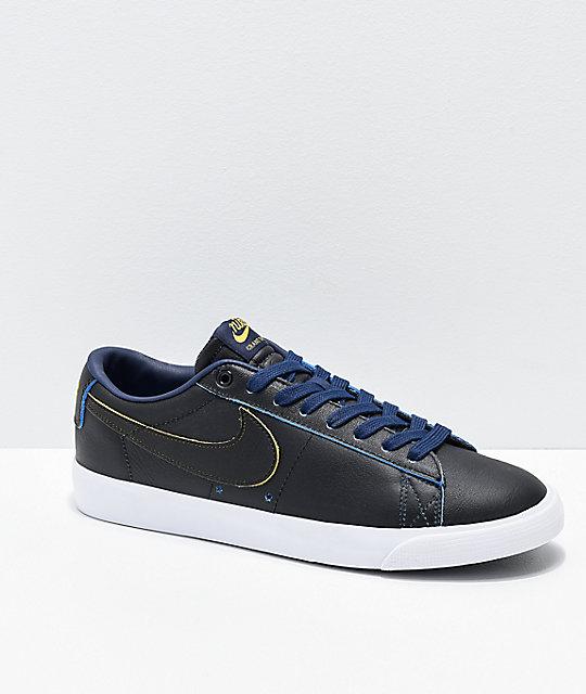 Nike SB x NBA Blazer Low GT Black, Yellow & Navy Skate Shoes