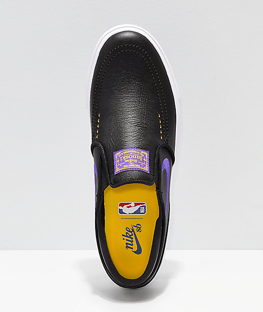 ee20a8713 ... Nike SB x NBA Janoski Black   Purple Slip-On Skate Shoes ...