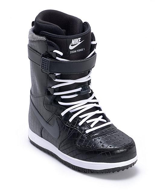 1c61463e37e Nike Zoom Force 1 Black & White Snowboard Boots