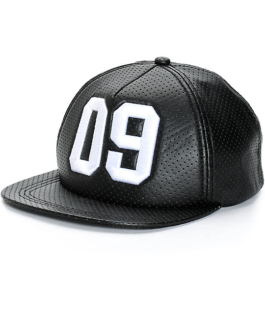 Ninth Hall 09 Perforated Leather Snapback Hat