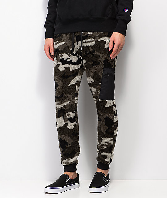 Ninth Hall Commando Print Camo Fuzzy Jogger Pants